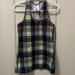 Ivivva Racerback Green and Grey Plaid Tank Top